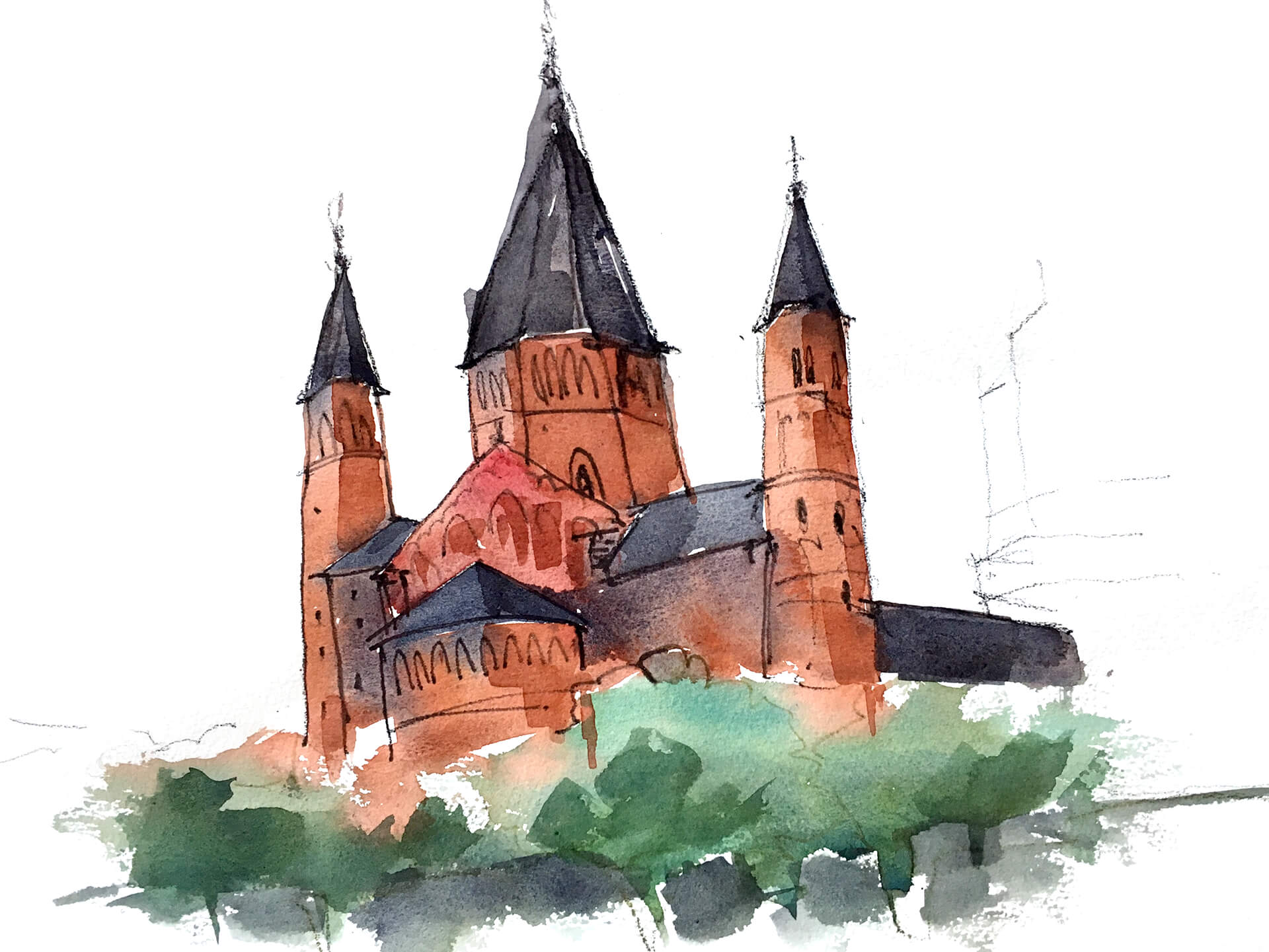 Anne Nilges Urban Sketching Aquarell Mainz Dom