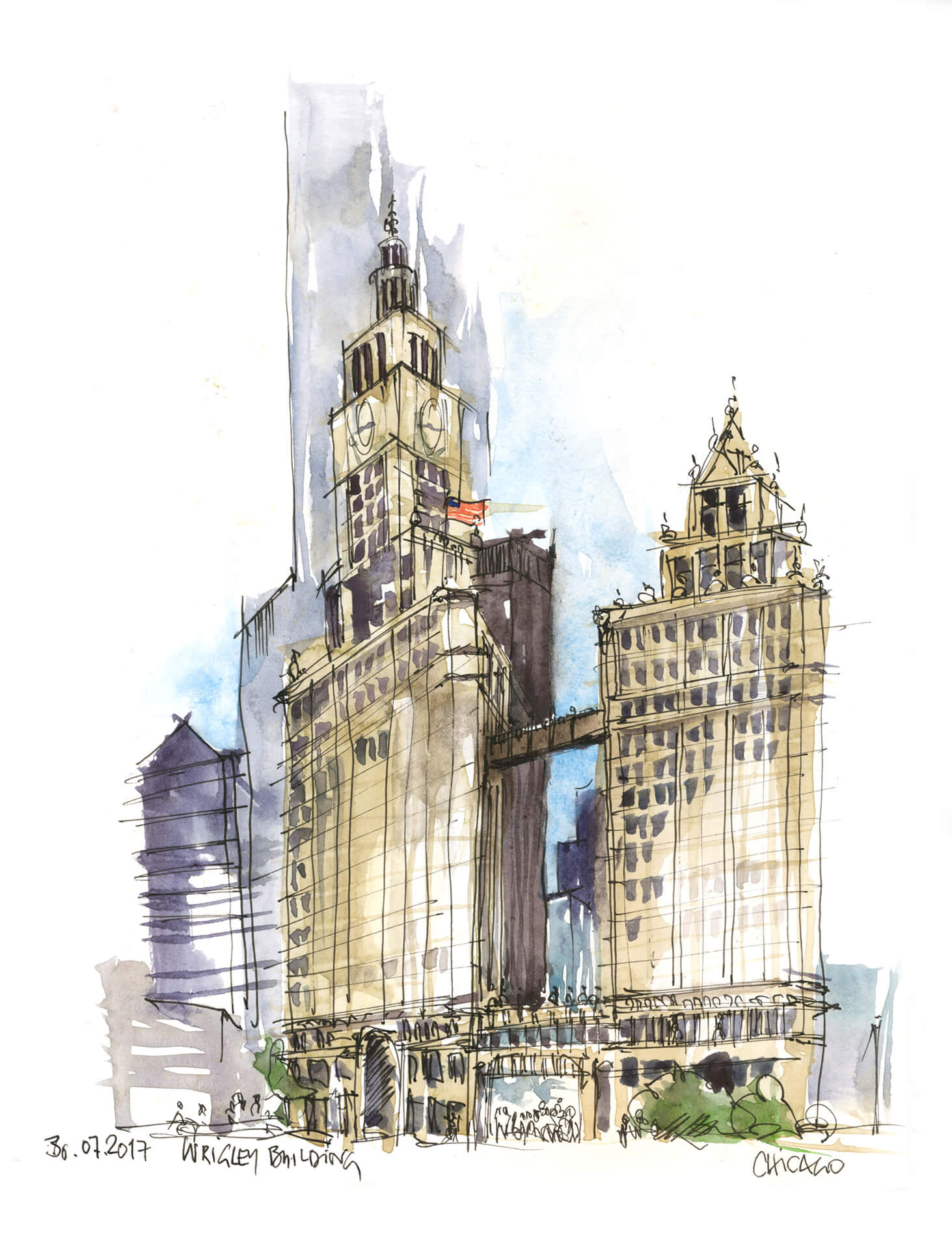 Anne Nilges Urban Sketching Aquarell Chicago