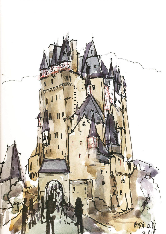 Anne Nilges Urban Sketching Aquarell Burg Eltz