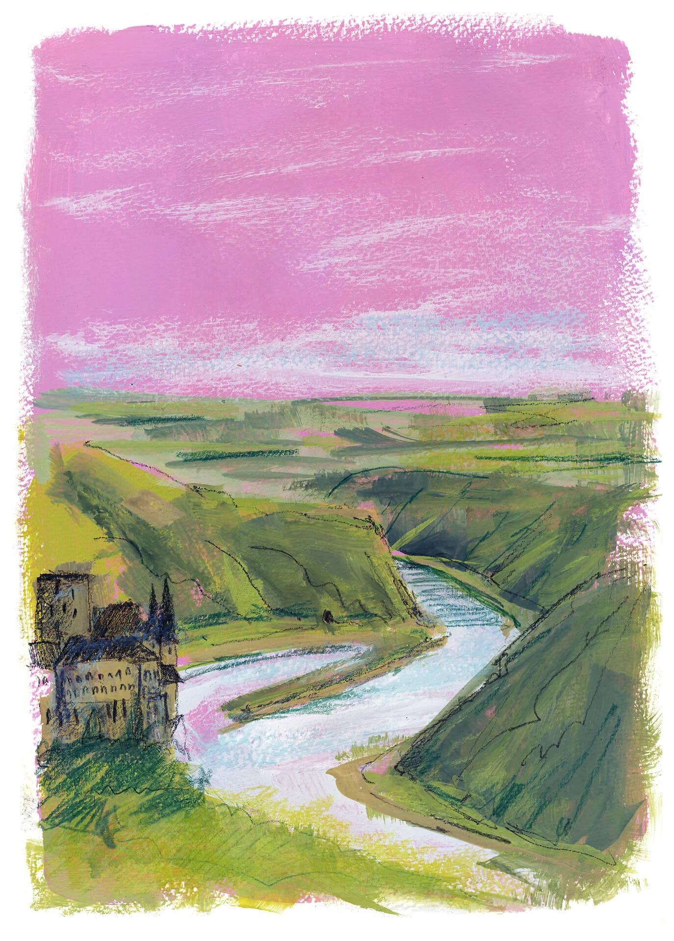 Rhein bei St. Goarshausen – Victor Hugo Urban Sketch Voyage