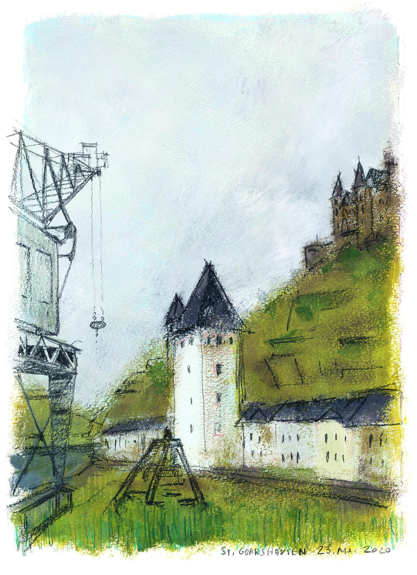 St. Goarshausen – Victor Hugo Urban Sketch Voyage