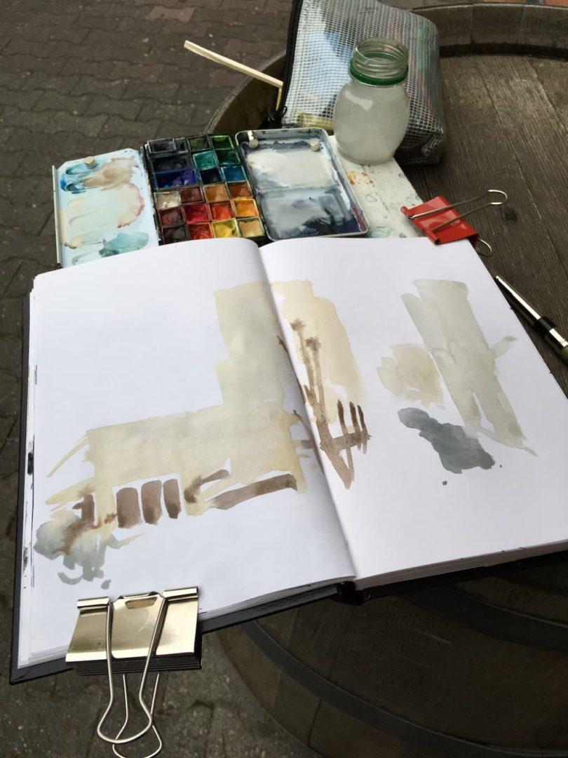 locker zeichnen: start mit Farbe